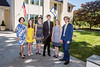 WVU Foundation  President & CEO Cindy Roth, Miriam Demas, Jessica Hogbin, Zachary Gilpin, Breellen Felming and Adam Craig pose for photographs at The WVU Foundation's annual announcement for their Foundation Scholars at the Blaney House May 16th, 2017.  Photo Brian Persinger
