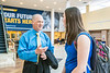 Newly named Dean of The School of Public Health, Dr. Jeffrey Coben talks with Elly Myers an BPH student in Social and Behavioral Sciences in the Pylon area of the Health Sciences Center campus May 22nd, 2017.  Photo Brian Persinger