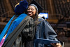 WVU CHES graduate Tia Coleman Elementary Education  receives her diploma and hugs dean Gypsy M. Denzien  at the WVU College of Education and Human Services commencement. May 13, 2017 at the WVU Coliseum. Photo Greg Ellis