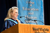 WVU College of Education and Human Services Presidential Honorary Degree recipient Kathryn Cottrill Vecellio addresses the graduates and audience  May 13, 2017 at the WVU Coliseum. Photo Greg Ellis
