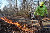WVU Davis College students participate in a controlled burn as part of a lab at the WVU Forest November 29, 2017. Photo Greg Ellis