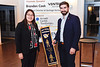 Katherine Rexroad, President of Beta Alpha Psi, presents Brandon Cook of Vantage Ventures with a gift showing their appreciation for his support during their annual Fall Initiation and Awards Banquet at the Art Museum of WVU on November 11, 2019. Students, faculty, and alumni of the university attended the event, where new students were initiated into the organization, scholarships were awarded, and keynote speaker Brandon Cook shared career readiness advice.  (WVU Photo/Hunter Tankersley)