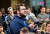 A WVU John Chambers College of Business and Economics student, asks a questions at the  presentation from Virgin Hyperloop One at the Vantage Ventures Tech Talk November 21, 2019. (WVU Photo/Greg Ellis)