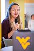 """Kristen Hammer, business development director for Virgin Hyperloop One presents """"the mind-blowing possibilities of Hyperloop One"""" at the presentation from Virgin Hyperloop One at the Vantage Ventures Tech Talk November 21, 2019. (WVU Photo/Greg Ellis)"""