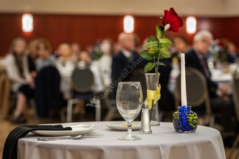 WVU Veterans, active duty military and the WVU community come together to celebrate Veterans Day 2019 at the WVU Veterans Appreciation Breakfast. The empty table representing the lost an missing, November 11, 2019. (WVU Photo/Greg Ellis)