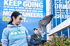 Avian Conservation Center of Appalachia member holds Tundra, the Peregrine Falcon. Artisans, students, and community members came together during WVU's Arts and Craft Fair – a part of Mountaineer Week. The Arts and Crafts fair was held in and around the Mountainlair, November 2, 2019. (WVU Photo/Hunter Tankersley)