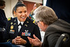 West Virginia National Guard Lt. Col. Tanya McGonegal commander of the 77th Brigade the first African American brigade commander in the history of the West Virginia National Guard engages WVU President E. Gordon Gee in conversation at the WVU Veterans Appreciation Breakfast November 11, 2019. (WVU Photo/Greg Ellis)