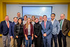 Members of the Vantage Venture WVU John Chambers College of Business and Economics pose for a group photo with the  representative of Virgin Hyperloop One at the Vantage Ventures Tech Talk November 21, 2019. (WVU Photo/Greg Ellis)