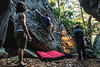 Students climb and bouldar at Coopers Rock October 23rd, 2018. Photo Brian Persinger