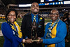 Stephen Scott poses with his mother and grandmother after being named the 2018 Mr. Mountaineer during halftime of the Baylor Football game on Mountaineer Field Oct 25th, 2018.  Photo Brian Persinger