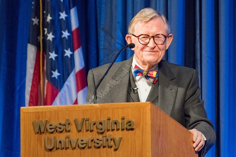 WVU President E Gordon Gee address faculty, staff, students and the WVU community at the WVU State of the University Erickson Alumni Center, September 11, 2017. Photo Greg Ellis