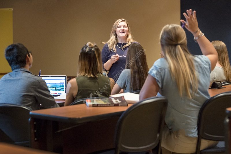 WVU School of Public Health students interact with faculty in class on the WVU HSC campus September 15, 2017. Photo Greg Ellis