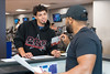 (LtoR) John Caldwell reviews his workout program with Quincy Smith at Pro Performance University Place Sunnyside  September 6, 2017. Photo Greg Ellis