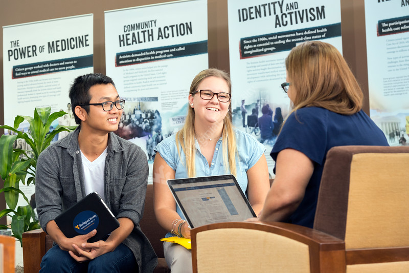 WVU School of Public Health students interact with  staff on the WVU HSC campus September 15, 2017. Photo Greg Ellis