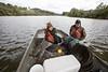 Kristen Chestnut conducts catfish research on the Monongahela River.<br /> 34993 WVU Mag Kristen Chestnut<br /> WVU Photo/ Raymond Thompson<br /> WVU Magazine