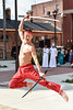A Japanese Sword Dancer performing for the crowd outside the County Clerk's Office during the annual International Street Fair on High Street in Morgantown on September 29, 2018.