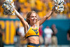 Cheerleader performing for the crowd. WVU's football team faced off against NC State on September 14, 2019. (WVU Photo/Parker Sheppard)