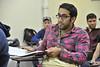 WVU student Aziz Al Shammari poses for photos in his engineering class WVU CEMR Evansdale campus, April 2011. (WVU Photo/Brian Persinger)