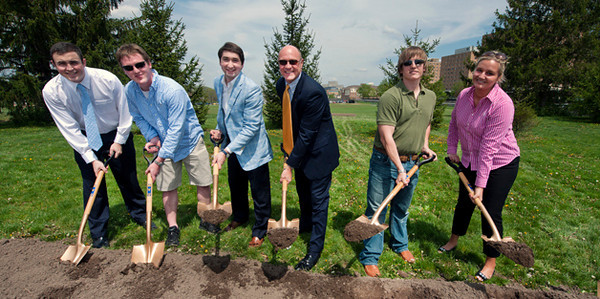 WVU leadership and students break ground for the WVU Rec Center on the Evansdale campus, April 2011. (WVU Photo/Brian Persinger)