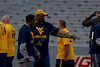 WVU current players and WVU legends play on Mountaineer Field Puskar Stadium in the  WVU Football Spring Gold and Blue Game, April 2011. (WVU Photo/Brian Persinger)