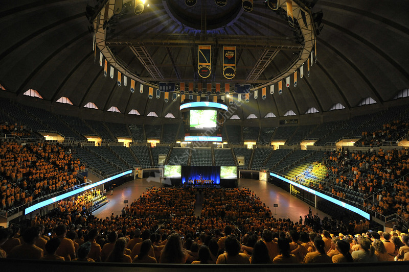 WVU freshmen take part in the new student welcome activities at the WVU Coliseum, August 2011. (WVU Photo/Brian Persinger)
