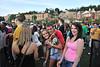 WVU freshmen students listen to music enjoy new friends, food, dancing and music  on the Mountainlair plaza Fallfest, August 2011. (WVU Photo/Greg Ellis)