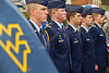 The Air Force ROTC cadets stand at attention during the Pearl Harbor ceremony on Oglebay Plaza.
