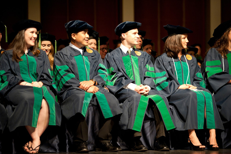 WVU School of Medicine graduates take part in their commencement at the WVU CAC Evansdale campus, May 2011. (WVU Photo/Chris Schwer)