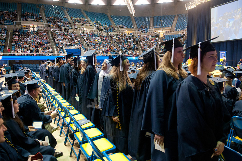 WVU Eberly College graduates take part in commencement activities at the WVU Coliseum evansdale campus, May 2011. (WVU Photo/Jake Lambuth)