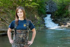 WVU student Johnna Taylor davis College poses for viewbook marketing  photos performing water research, May 2011. (WVU Photo/Chris Schwer)