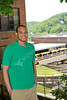 WVU student Aston Pellom poses for graduate feature photos on the WVU downtown campus, May 2011. (WVU Photo/Todd Latocha)