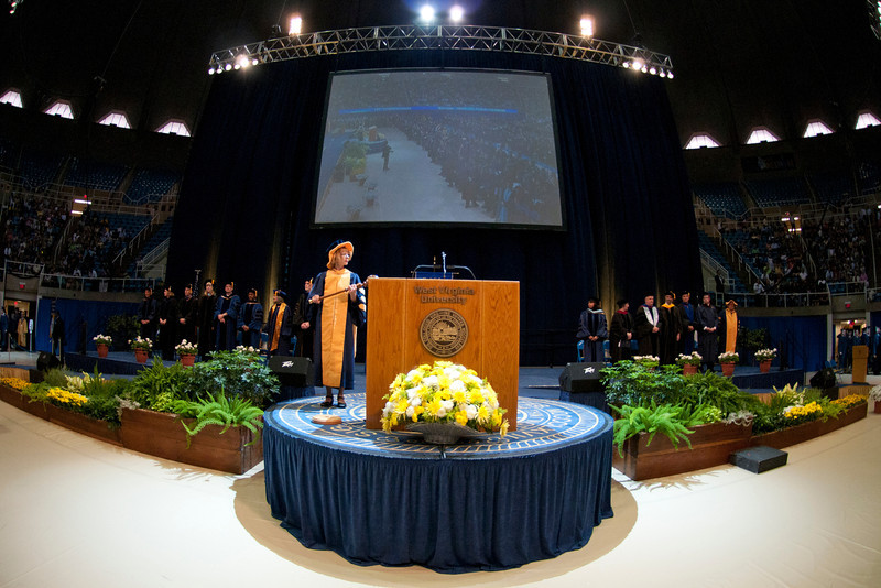 WVU Eblery College Commencement ceremony overview WVU Coliseum evansdale campus, May 2011. (WVU Photo/Jake Lamburth)