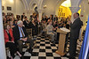 WVU leadership faculty and the community gather at Stewart Hall downtown campus for the Joyce and Stu Robbins gift announcement, May 2001. (WVU Photo/Brian Persinger)