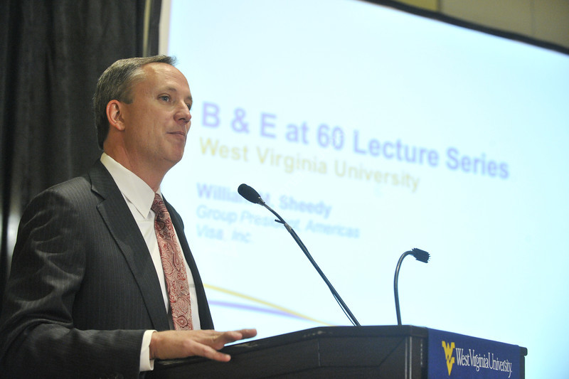 WVU College of Business and Economics speaker series presents William Sheedy President of VISA at the Erickson Alumni Center evansdale campus, November 2011. (WVU Photo/Brian Persinger)