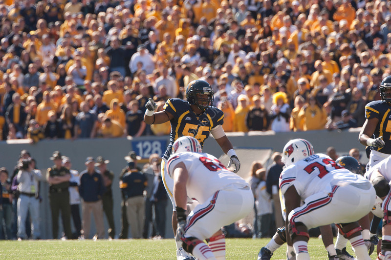 WVU Football vs Louisville game action Milan Puskar Stadium evansdale campus, November 2011. (WVU Photo/Jake Lambuth)