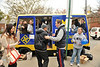 WVU students attempt to cram as many people as possible into a PRT car, at the WVU Mountainlair on the downtown campus this is a time-honored tradition challenging student organizations, November 2011. (WVU Photo/Jake Lambuth)