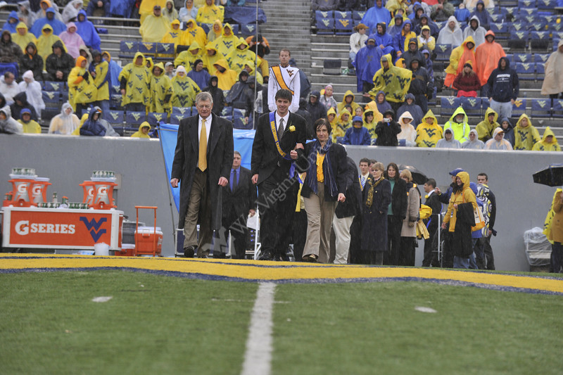 The WVU Homecoming Queen and King are announced at the WVU Bowling Green football game Puskar stadium, October 2011. (WVU Photo/Brian Persinger)