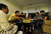 WVU Saudi student Aziz Alshammari with his brothers and cousins all attending WVU prepare a traditional Saudi dinner at their home  Morgantown WV. October 2011. (WVU Photo/Greg Ellis)