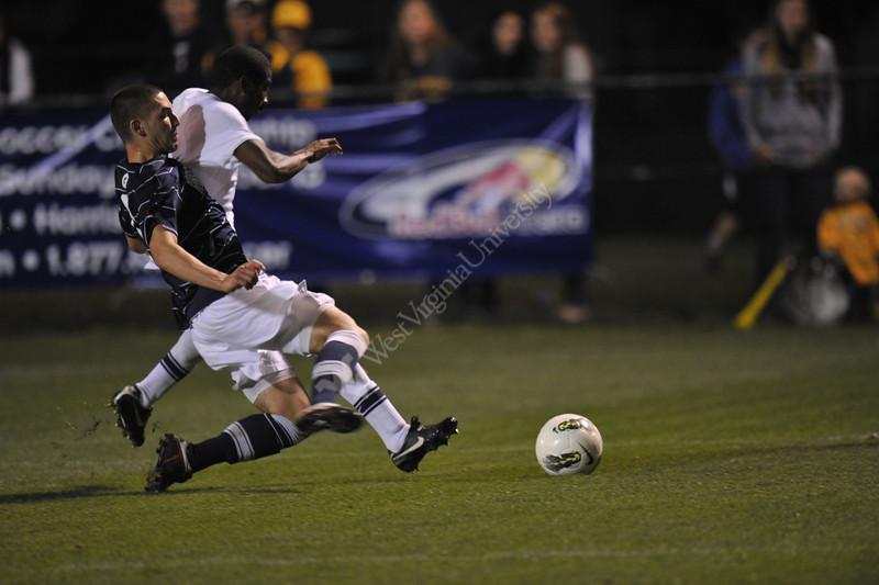 WVU Men's Soccer vs Georgetown game action Dick Dlesk Soccer Stadium evansdale campus, October 2011. (WVU Photo/Allison Toffle)