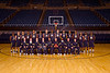 The WVU Men's Basketball team members coaches and staff pose for a photo at the WVU Coliseum evansdale campus, October 2011. (WVU Photo/Brian Persinger)