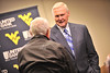 WVU alumni Jerry West former WVU basketball star and American basketball executive answers questions at a press conference after his Festival of Ideas lecture WVU Coliseum, October 2011. (WVU Photo/Greg Ellis)