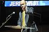 WVU alumni Jerry West,  former WVU basketball star and American basketball executive speaks at the WVU Festival Of Ideas at the WVU Coliseum, October 2011 (WVU Photo/Greg Ellis)