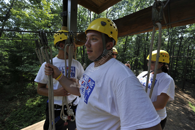 WVU Masters of Science and Industrial relations students develop team building skills at the WVU Adventure Challenge Course WVU Forest, September 2011. (WVU Photo/Brian Persinger)