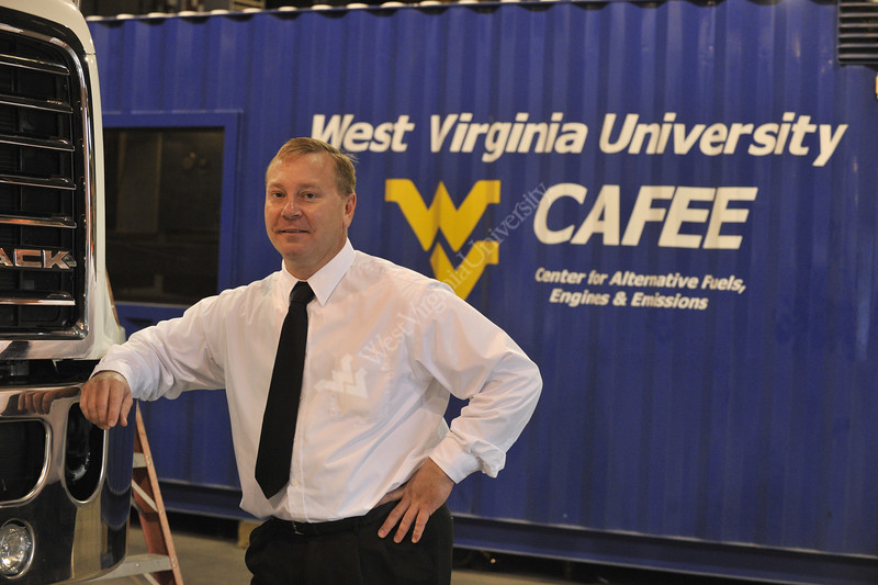 WVU Dyno Research Lab, truck transporter and staff pose for marketing photos at the CAFE Dyno Lab Westover WV., September 2011 (WVU/Photo Brian Persinger)