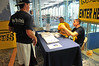 WVU students can exchange vulgar or inappropriate Tee Shirts for a WVU Licensed Tee Shirt prior to the WVU vs LSU Football game  Saturday night at Puskar Stadium, September 2011. (WVU Photo/Jake Lambuth)
