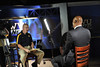 WVU Linemen and All-American football player Darryl Talley is interviewed at the WVU OWF studio , September 2011. (WVU Photo/Greg Ellis)