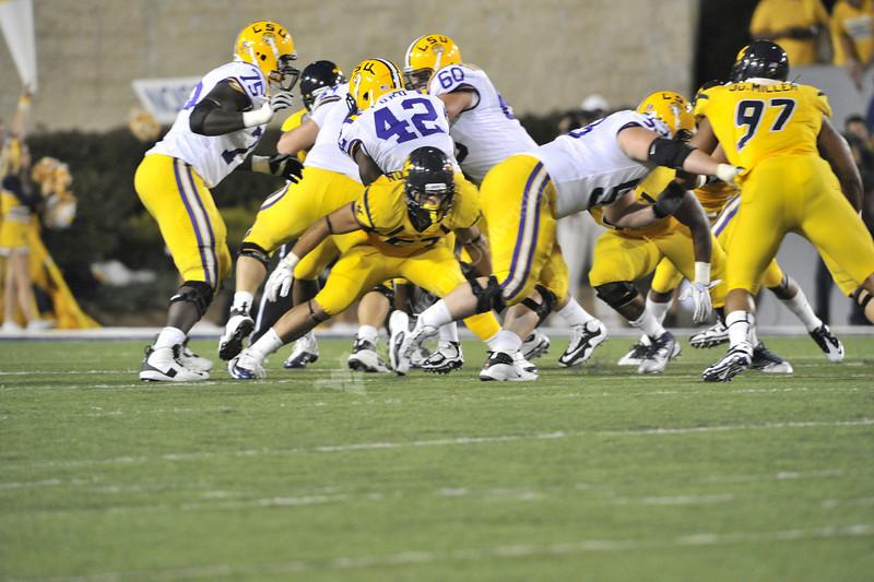 WVU Football vs LSU game action Puskar Stadium evansdale campus , September 2011. (WVU Photo/Greg Ellis)