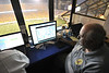 WVU Police officer Jim Enochs uses video surveillance to assist with public safety and crowd management at WVU football games Puskar Stadium evansdale campus, September 2011