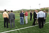 WVU leadership facilities management students and the WVU community gather at the Mylan intramural field for a ribbon cutting and official opening evansdale campus, September 2011. (WVU Photo/Mark Brown)