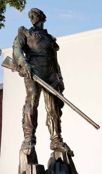 WVU Mountaineer statue on the WVU  Mountainlair green downtown campus with white seamless background. September 2011.(WVU Photo/Chris Schwer)